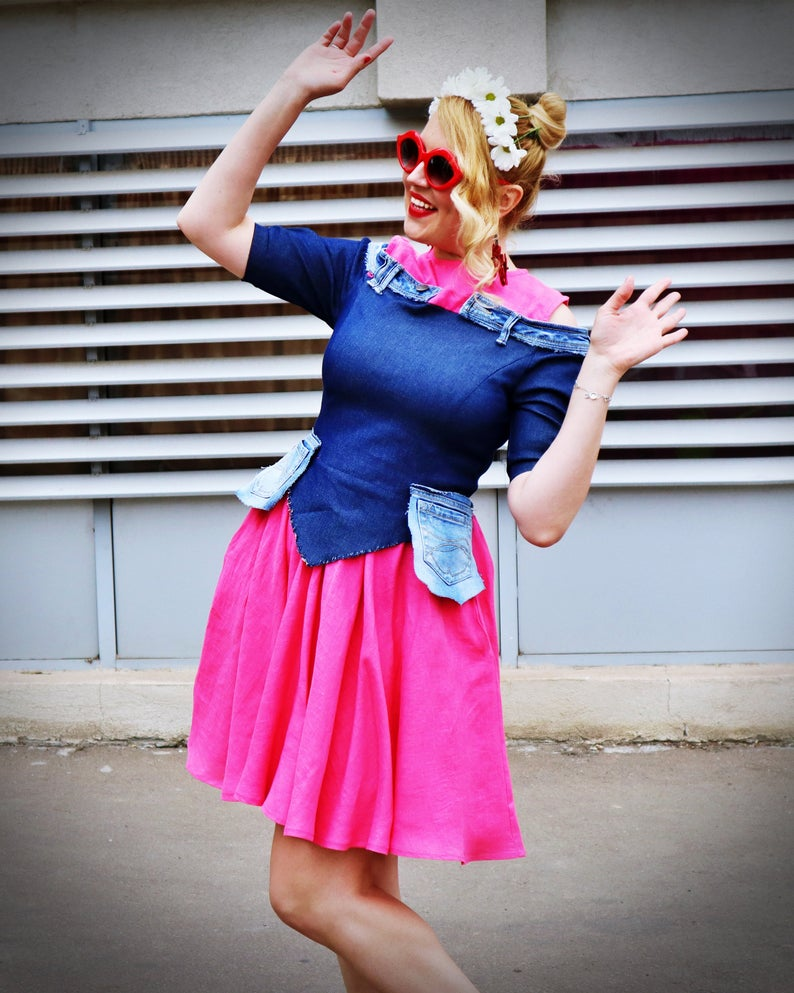 multi fabric summer dress
