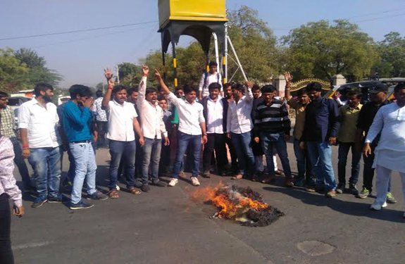 Rajasthan In Ajmer college NSUI burnt effigy of chief minister