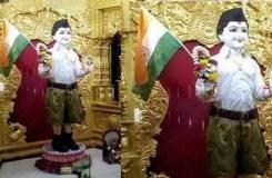 भगवान को पहनाया RSS का यूनिफॉर्म, मचा बवाल