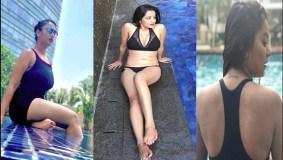 स्विमिंग पूल मे आग लगा रही ये अभिनेत्री