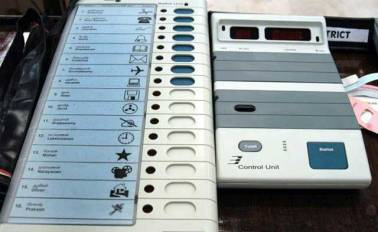 District and the district EVM and punch-sarpanch  will vote by ballot