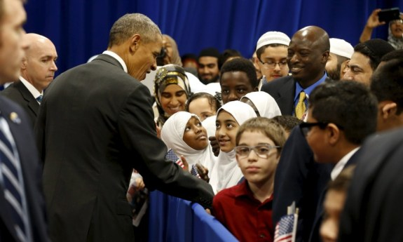 Obama greets students after his remarks at the Islamic Society of Baltimore mosque in Catonsville, Maryland