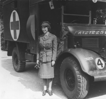 Princess Elizabeth serving as a truck driver during WWII