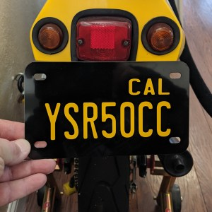 Custom Black and Yellow California Motorcycle License Plate