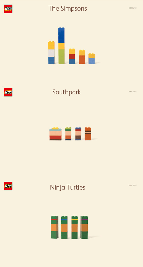 The Simpsons, South Park, and Ninja Turtles LEGOS