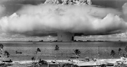 Testing of a hydrogen bomb at Bikini Atoll