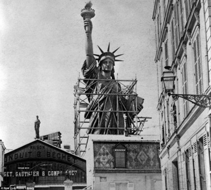 Construction of the Statue of Liberty in Paris, France.