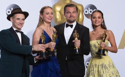 Leonardo DiCaprio with an Oscar