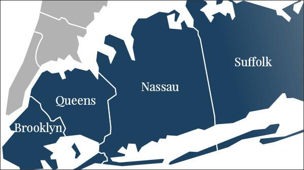 T.F. O'brien's service area map