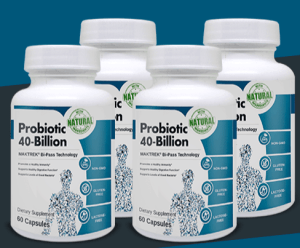 An image of for bottles of probiotics in review