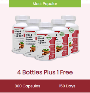 An image of 5 bottles of vitapost blood sugar support