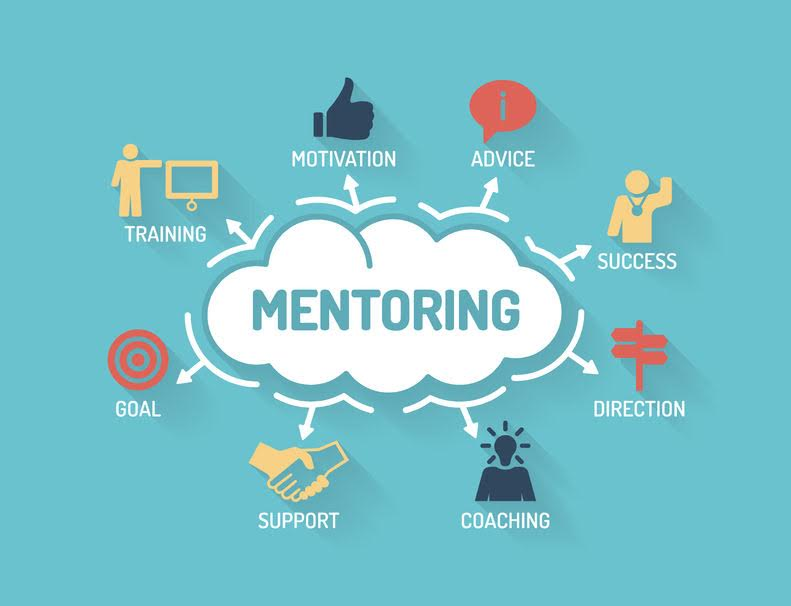 61462087 - mentoring. chart with keywords and icons. flat design