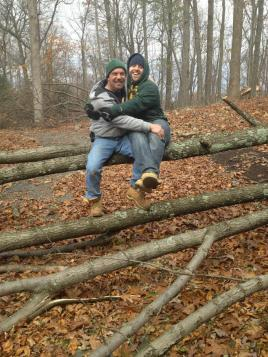 My Step-Father and I cleaning up the yard after Hurricane Sandy