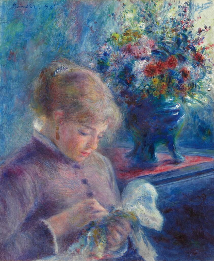 縫い物をする若い女 ルノワール