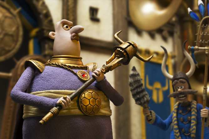 Lord Nooth and Dino in EARLY MAN. Photo courtesy of Aardman.
