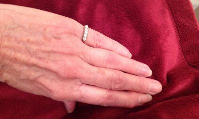 Joyce Wharton wearing the five-stone diamond ring belonging to her mother, Hazel Wharton, who died in a plane crash in 1959.