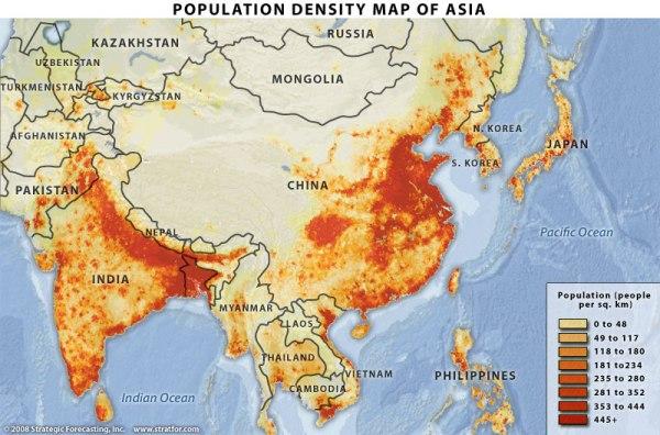 Asia population density map