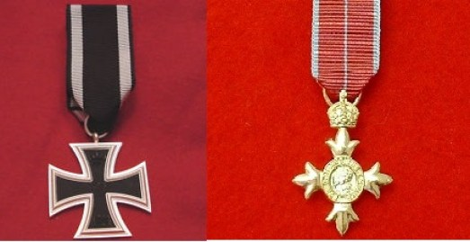 Juan Pujol Garcia (Agent GARBO) was awarded in secret both the German Iron Cross Second Class (seen left), and Member of the Most Excellent Order of the British Empire, an MBE (seen right).