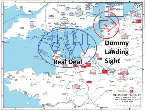 Operation Overlord - D-Day - invasion map: indicating Operation Fortitude South fake landing sight at Pas-de-Calais overlaid in red; as well as the real Operation Overlord Normandy landing beaches overlaid in blue.