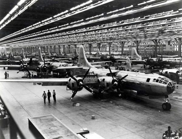 Boeing plant producing B-29 bomber in US during WW2 - Biggest US Contribution to the Grand Alliance and achieving VE-Day