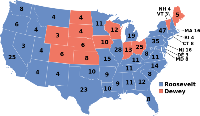 The Electoral College Map from the 1944 US Presidential election