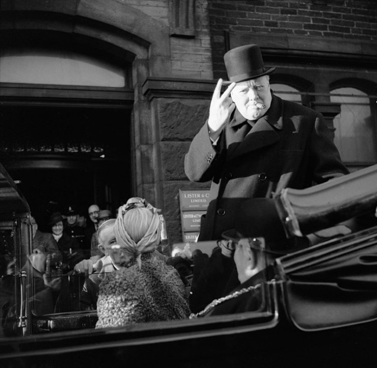 """Winston Churchill giving the """"V for Victory"""" salute, no Churchill would have leant in a major way to how the Axis won WW2 in The Man in the High Castle universe"""