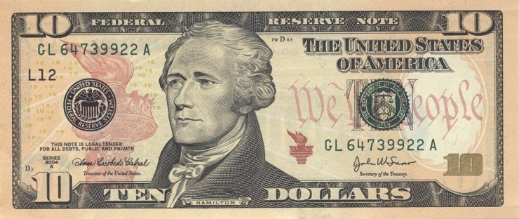 Alexander Hamilton on US $10 Dollar Bill