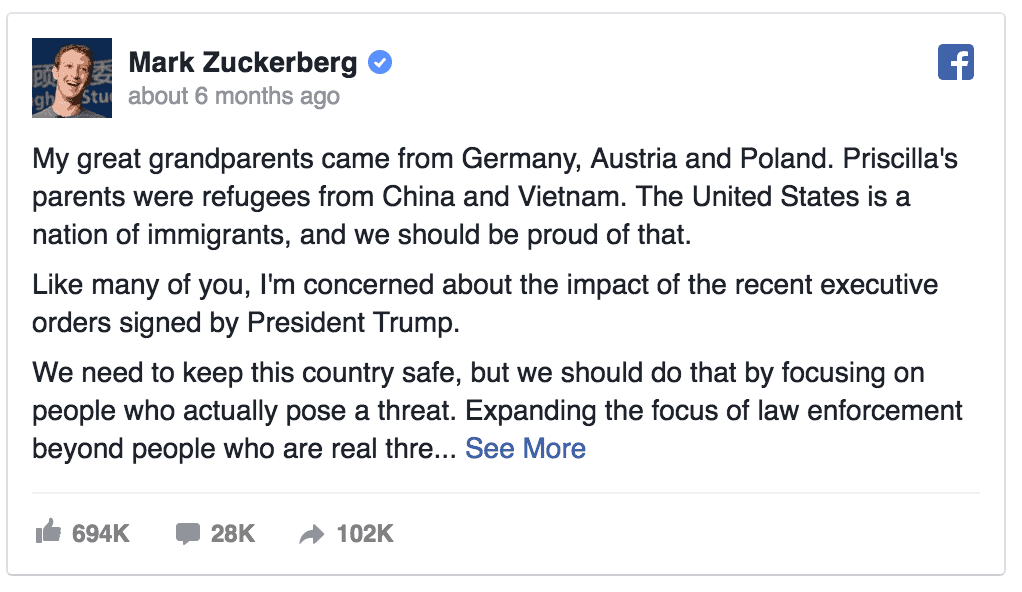 Mark Zuckerberg Tweet