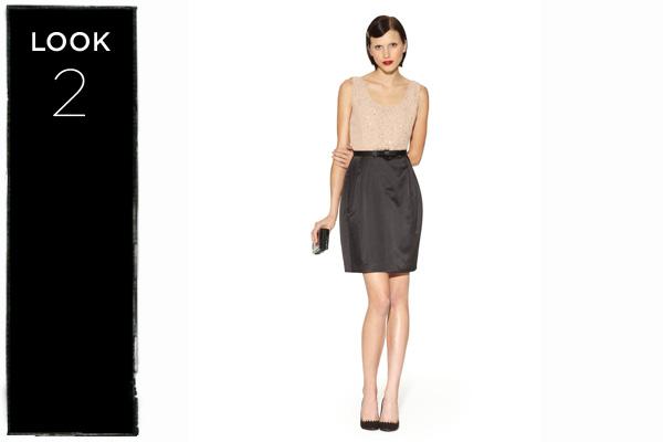 Beaded colorblock dress in tan/black