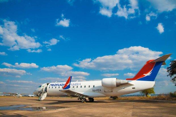 Proflight Zambia's 50-seat CRJ jet.
