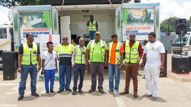 Zambian Breweries staff join RTSA officers for a drink drive crackdown in Ndola.