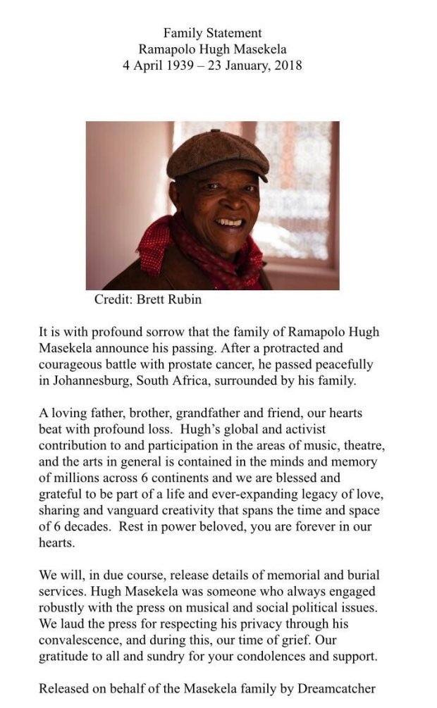 Hugh Masekela family statement