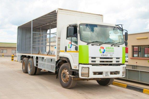 One of the Manja Pamodzi waste collection trucks renovated by Zambian Breweries.