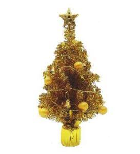 AllMerry Christmas ต้นคริสต์มาสสีทอง 1.5 ฟุต ประดับบอลทอง สายระฆังทอง ยอดดาวทอง (ชุด 4 ต้น)