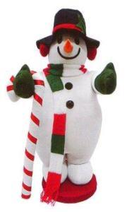 AllMerry Christmas สโนว์แมนผ้ากำมะหยี่ ถือไม้เท้า สูง 40 นิ้ว - สีขาว