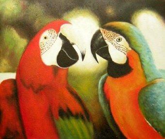 Adaygallery Oil Painting on Canvas ภาพวาดสีน้ำมัน รูปนกแก้วคู่รัก ขนาด 50 x 60 ซม.