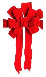AllMerry Christmas โบว์กำมะหยี่แดงใหญ่ 50x80 ซม. - Red