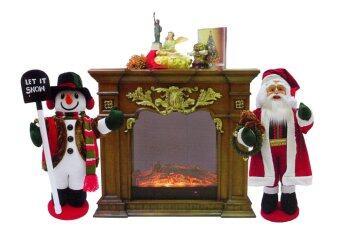 AllMerry Christmas ชุดเตาผิง 120x30x110ซม.+ ซานตาคลอสและสโนว์แมน 40 นิ้ว