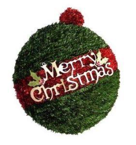 AllMerry Christmas พวงหรีดบอลครึ่งลูก Merry Christmas สีเขียว/แดง (โครงลวดอลูมิเนียม)