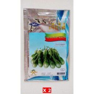 เจียไต๋ ตราเครื่องบิน เมล็ดพันธุ์ มะเขือไข่เต่าเขียว (Round Eggplant) จำนวน 2 ซอง แถมฟรี 1 ซอง ziplock
