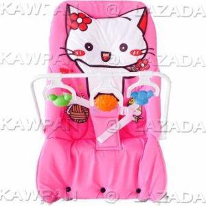 Attoon เปลโยกหนัาแมว + หมอนหลุม + โมบายของเล่น - สีชมพู