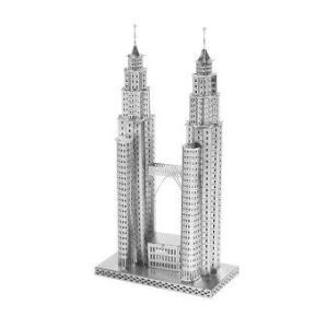 3D Mini Metal Puzzles Petronas Tower - Silver