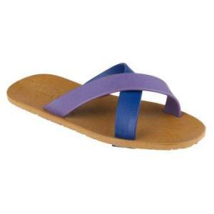 blackOut รองเท้าแตะ รุ่น BO-1001 สีน้ำตาล หูน้ำเงิน-ม่วง
