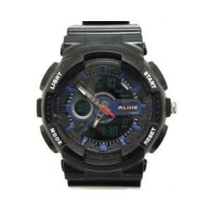 ALIKE นาฬิกาข้อมือชาย 2 ระบบ ทรง G - Shock สายพลาสติก - สีดำ/น้ำเงิน