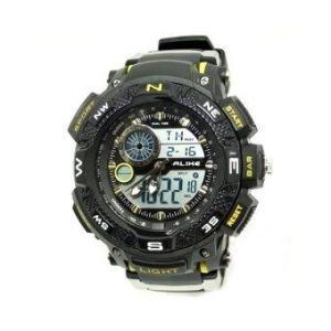 ALIKE นาฬิกาข้อมือชาย 2 ระบบ ตัวหนังสือสีเหลือง สายพลาสติก ( สีดำ/เหลือง )