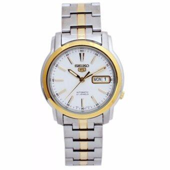 SEIKO 5 Automatic TwoTone Silver Dial Stainless Steel Men's Watch รุ่น SNKL84K1 (7S26-03S0SG)(Silver)