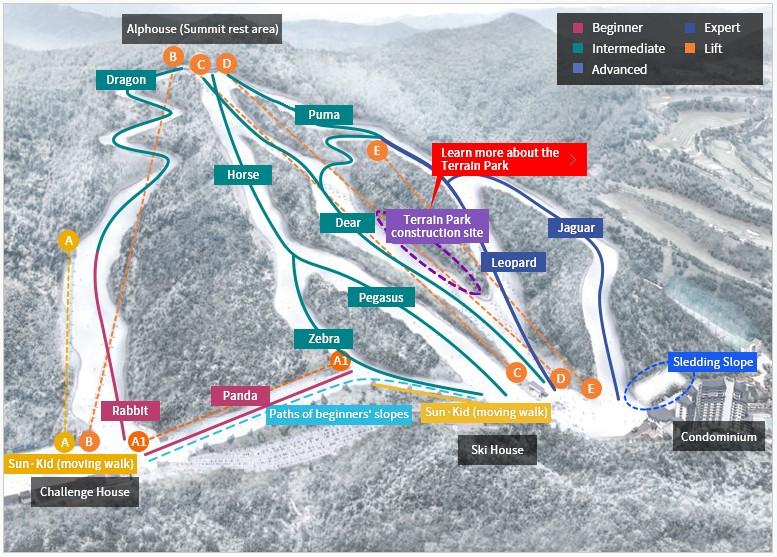 แผนที่ Elysian Gangchon Ski Resort (เอลีเชียน กังชอน สกี รีสอร์ท)