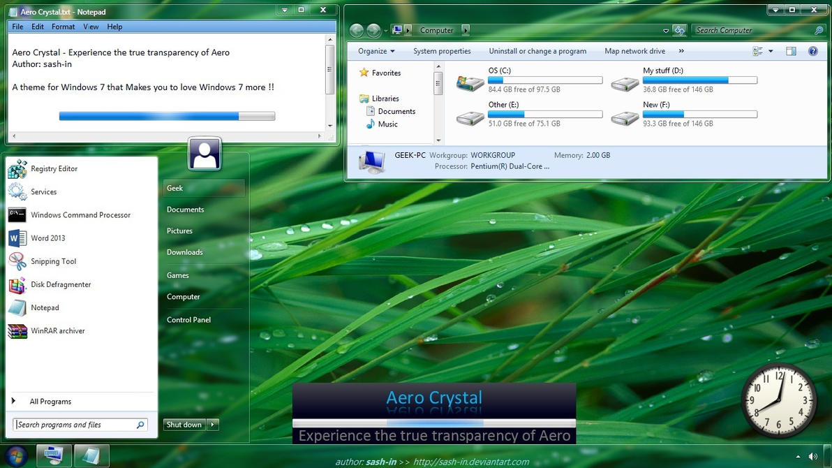 DOWNLOAD LINK:CRYSTAL WINDOWS 7 THEME
