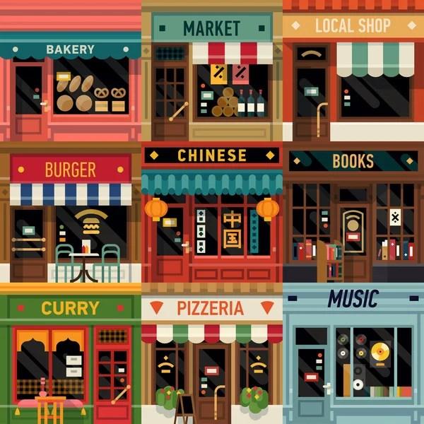 Iconos de fachada de restaurantes y tiendas — Vector de stock #79018766