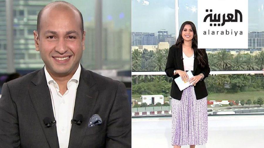 شاهد ..مذيع قناة العربية يغازل زوجته على الهواء..فيديو